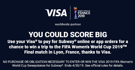 You could win a trip to the FIFA Women's World Cup 2019™ Final match in Lyon, France, thanks to Visa®.
